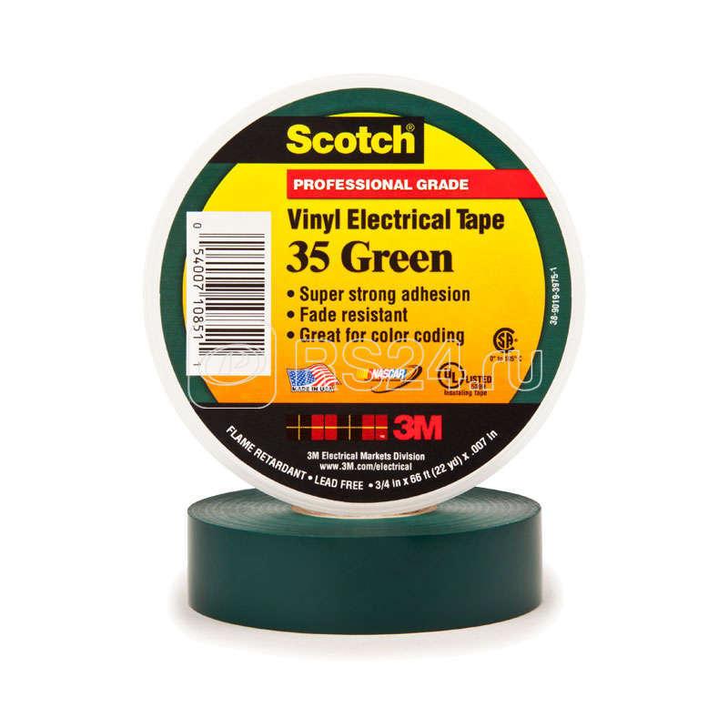 Изолента ПВХ 19мм (рул.20м) Scotch 35 зел. 3М 7000031669