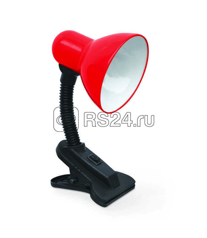 Светильник настольный под лампу СНП-01К на прищепке 40Вт E27 красн. (мягкая упак.) IN HOME 4690612012421