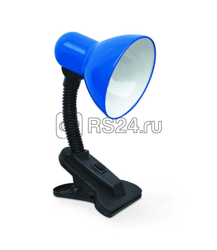Светильник настольный под лампу СНП-01С на прищепке 40Вт E27 син. (мягкая упак.) IN HOME 4690612012438