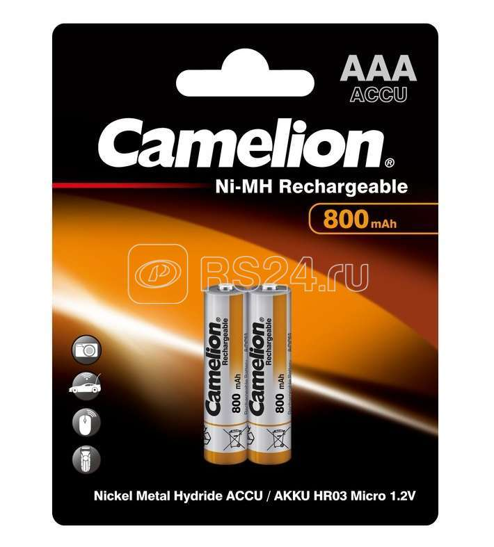 Аккумулятор R03 NI-MN 800мА.ч BP-2 (блист.2шт) Camelion 3674