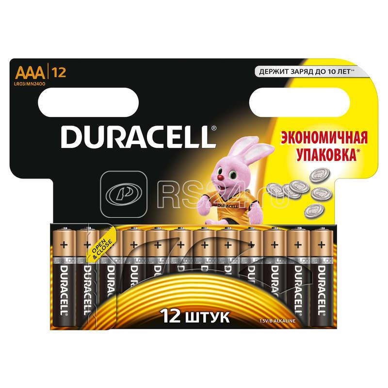 Элемент питания алкалиновый LR MX 2400/LR03 BASIC BP-12 (блист.12шт) Duracell Б0014520