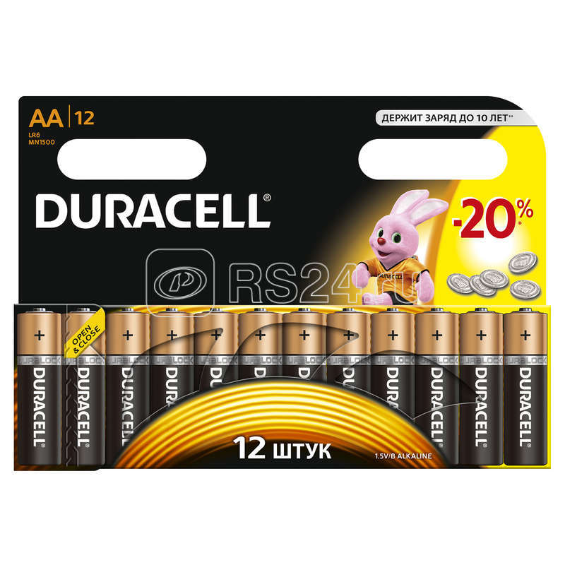Элемент питания алкалиновый LR MX 1500/LR6 BASIC BP-12 (блист.12шт) Duracell C0037388