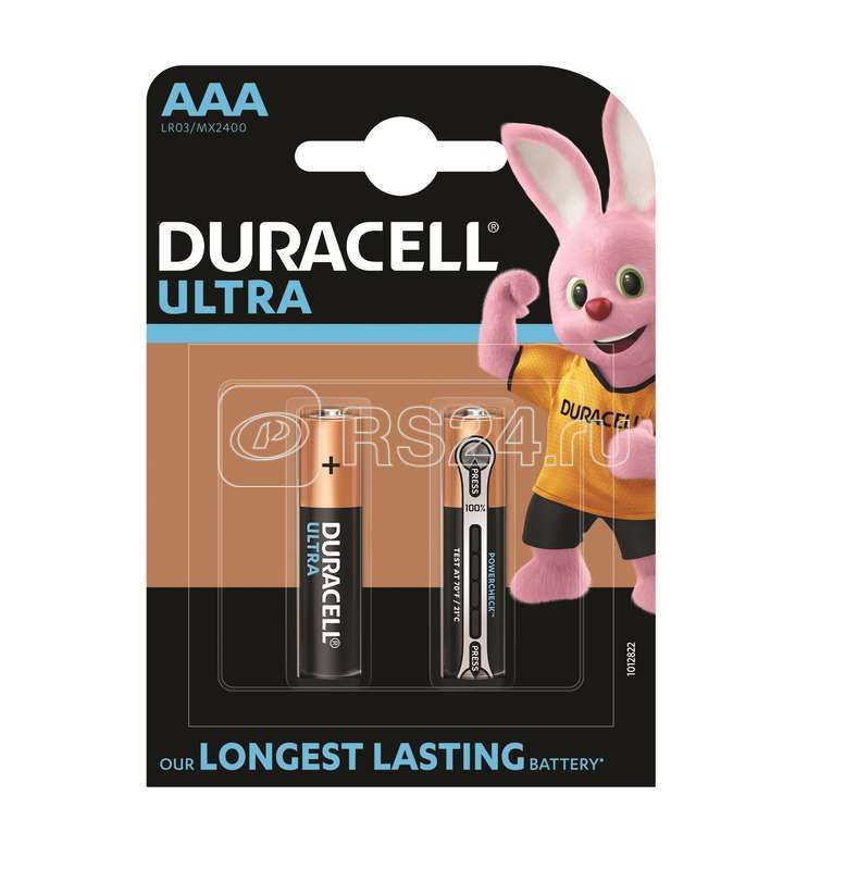 Элемент питания алкалиновый LR03-2BL Ultra (блист.2шт) Duracell Б0038760