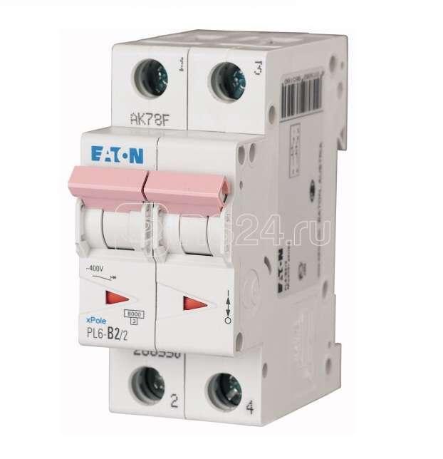 Выключатель автоматический модульный 2п C 2А 6кА PL6-C2/2 EATON 286562