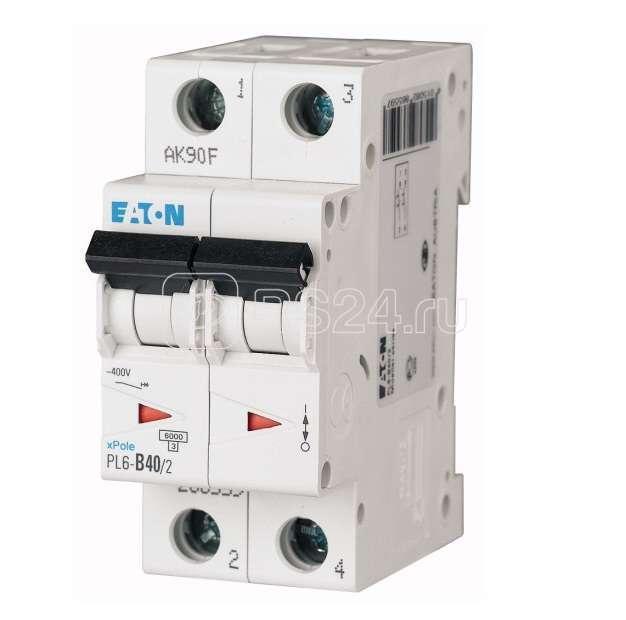 Выключатель автоматический модульный 2п C 40А 6кА PL6-C40/2 EATON 286571 купить в интернет-магазине RS24