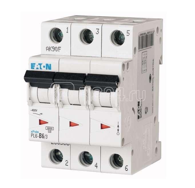 Выключатель автоматический модульный 3п D 6А 6кА PL6 EATON 286610 купить в интернет-магазине RS24