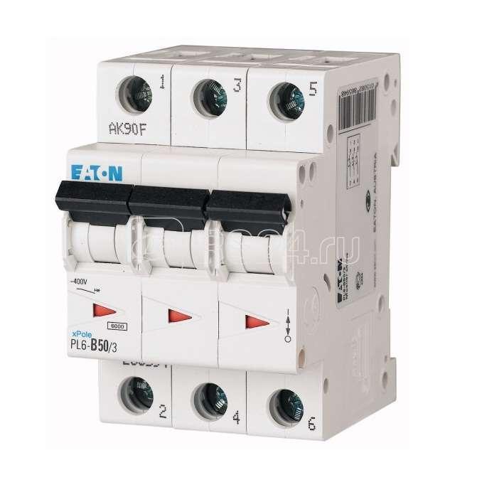 Выключатель автоматический модульный 3п C 50А 6кА PL6-C50/3 EATON 286606 купить в интернет-магазине RS24