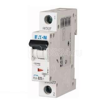 Выключатель автоматический модульный 1п D 25А 6кА PL6-D25/1 EATON 286547 купить в интернет-магазине RS24