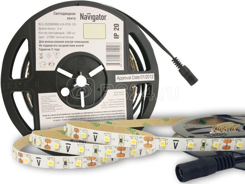 Лента светодиодная 71 402 NLS-3528WW60-4.8 IP20 12B R5 4.8Вт/м (уп.5м) Navigator 71402 купить в интернет-магазине RS24