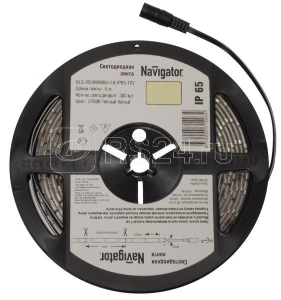 Лента светодиодная 71 405 NLS-3528G60-4.8 IP65 12B R5 4.8Вт/м (уп.5м) Navigator 71405 купить в интернет-магазине RS24