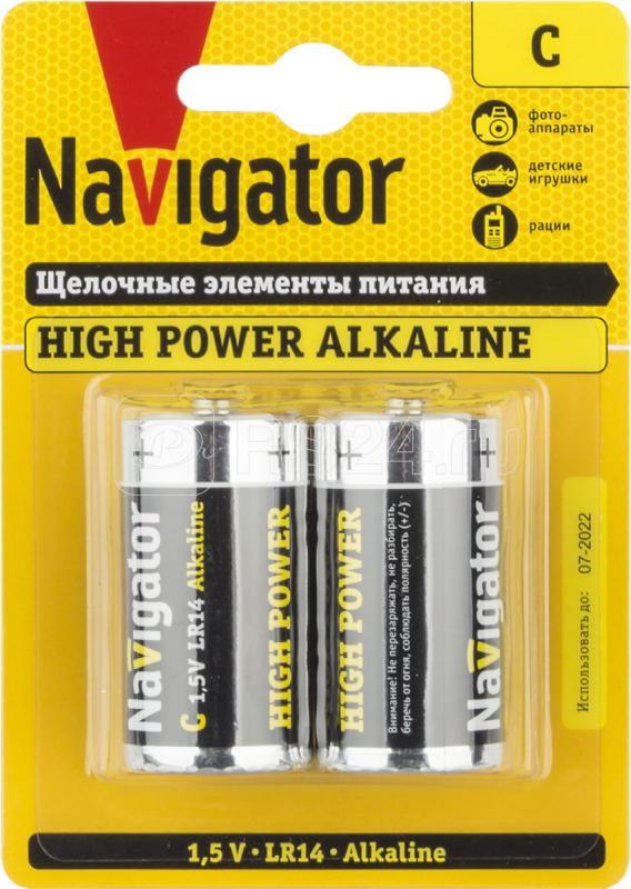 Элемент питания алкалиновый 94 754 NBT-NE-LR14-BP2 (блист.2шт) Navigator 94754 купить в интернет-магазине RS24