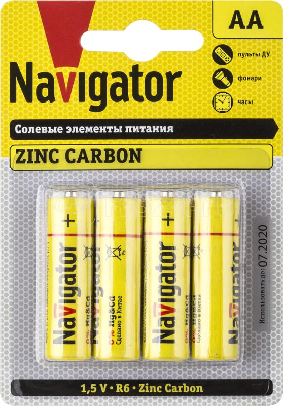 Элемент питания солевой 94 758 NBT-NS-R6-BP4 (блист.4шт) Navigator 94758 купить в интернет-магазине RS24