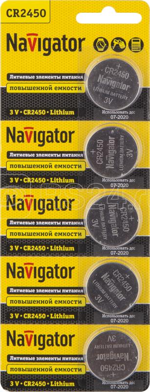 Элемент питания литиевый 94 766 NBT-CR2450-BP5 (блист.5шт) Navigator 94766 купить в интернет-магазине RS24