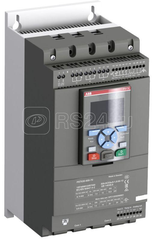 Софтстартер PSTX72-600-70 37кВт 400В 72А (59кВт 400В 124А внутри треугольника) с функцией защиты двигателя ABB 1SFA898107R7000 купить в интернет-магазине RS24