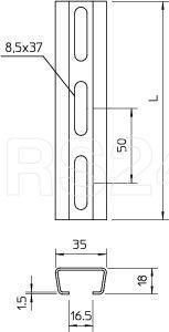 Профиль монтажный перфорир. 35х18 толщ. 1.5мм гор. оцинк. 2068 L 500 FT OBO 1119687 купить в интернет-магазине RS24