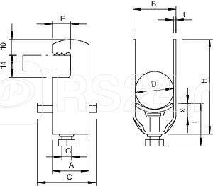Скоба зажимная U-образ. d46-52мм 2056F 2 52 FT OBO 1170511 купить в интернет-магазине RS24