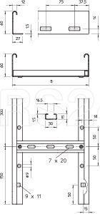 Лоток лестничный 600х60 L3000 сталь 1.5мм LG 660 VS 3 FT гор. оцинк. OBO 6208578 купить в интернет-магазине RS24