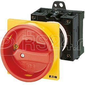 Выключатель нагрузки 3п 2НО+1НЗ Ie=25А 0-1 90град. заднее креп. T3-3-15683/V/SVB красн./желт. ручка EATON 045224 купить в интернет-магазине RS24