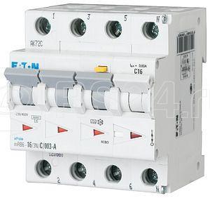 Выключатель автоматический дифференциального тока 4п (3P+N) B 16А 30мА тип A 6кА mRB6-16/3N/B/003-A EATON 120652 купить в интернет-магазине RS24