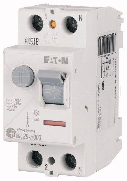 Выключатель дифференциального тока (УЗО) 2п 25А 30мА тип AC 6кА HNC-25/2/003 2мод. EATON 194690 купить в интернет-магазине RS24