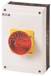 Выключатель нагрузки в корпусе 3P+N+1НО+1НЗ 63А запираемый P3-63/I4/SVB/N/HI11 красн./желт. ручка EATON 207350 купить в интернет-магазине RS24