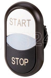 Кнопка двойная с сигнальной лампой; с обозначением start stop бел./черн.; лицевое кольцо M22S-DDL-WS-GB1/GB0 черн. EATON 216709 купить в интернет-магазине RS24