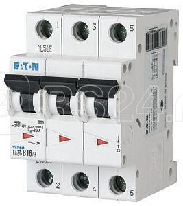 Выключатель автоматический модульный 3п C 3А 25кА FAZT-C3/3 EATON 240888 купить в интернет-магазине RS24
