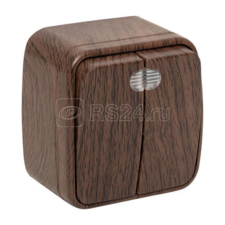 Выключатель 2-кл. 2п ОП Минск 10А IP20 с индикатором темн. дерево EKF EGV10-123-40 купить в интернет-магазине RS24
