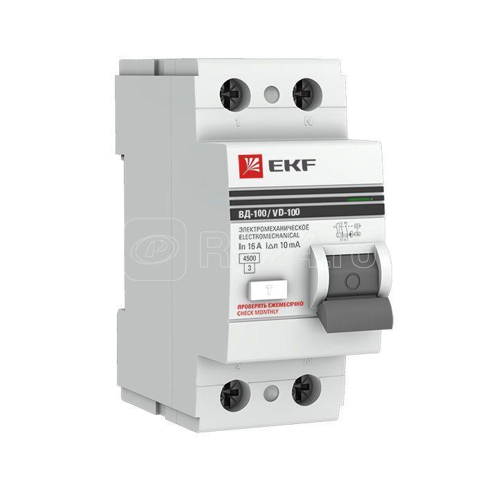 Выключатель дифференциального тока (УЗО) 2п 63А 100мА тип AC ВД-100 PROxima (электромех.) EKF elcb-2-63-100-em-pro