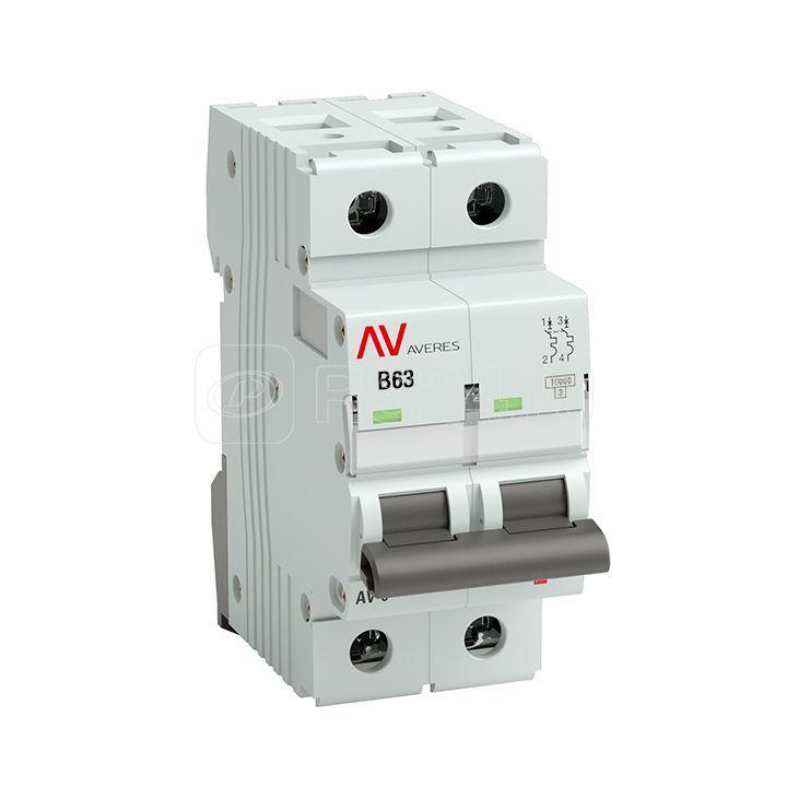 Выключатель автоматический модульный 2п B 63А 10кА AV-10 AVERES EKF mcb10-2-63B-av купить в интернет-магазине RS24