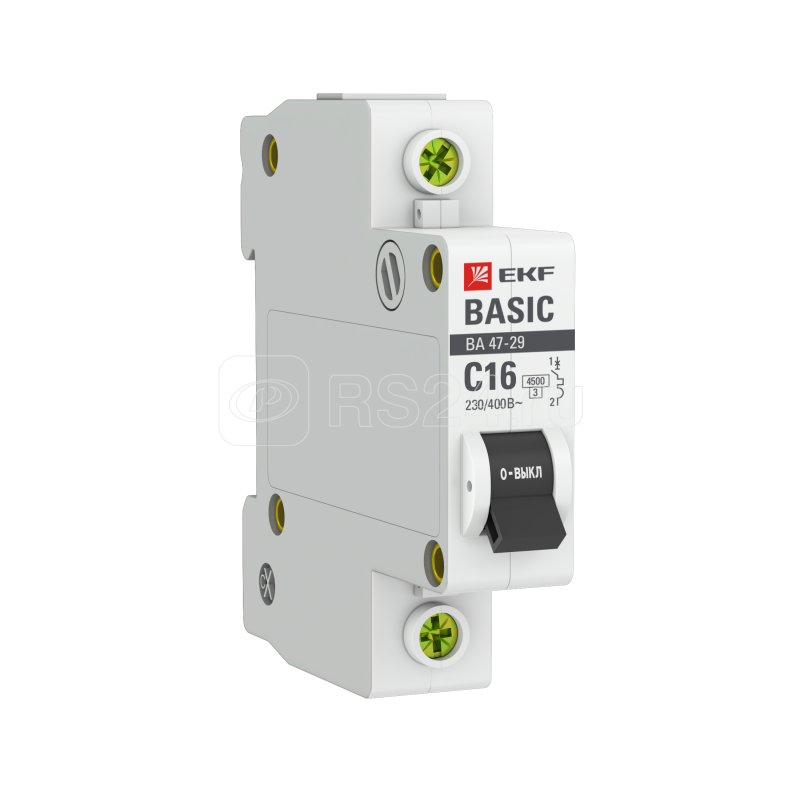 Выключатель автоматический модульный 1п C 16А 4.5кА ВА 47-29 Basic EKF mcb4729-1-16C