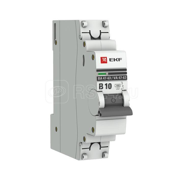 Выключатель автоматический модульный 1п B 10А 4.5кА ВА 47-63 PROxima EKF mcb4763-1-10B-pro купить в интернет-магазине RS24