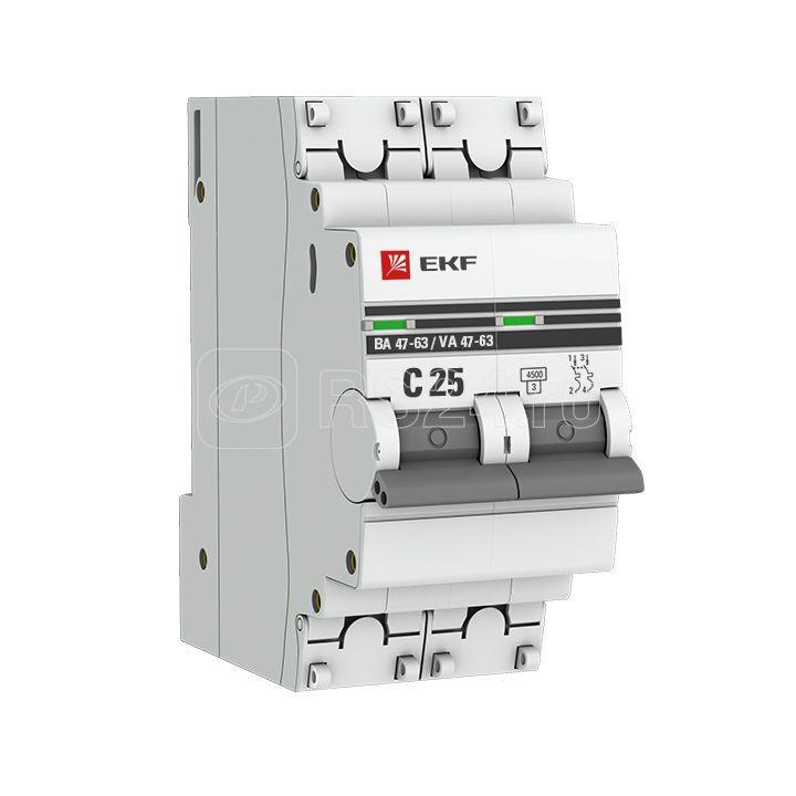 Выключатель автоматический модульный 2п C 25А 4.5кА ВА 47-63 PROxima EKF mcb4763-2-25C-pro