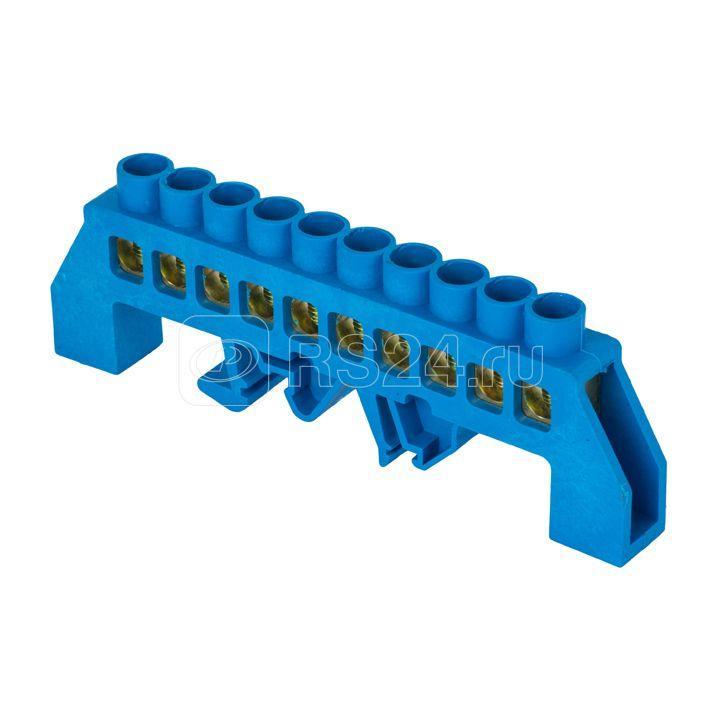 Шина нулевая N 8х12 10 отвер. латунь син. нейлоновый корпус комбинированный PROxima EKF sn0-125-10-dn