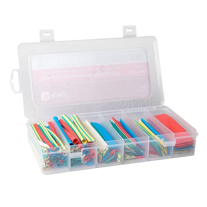 Набор ТУТ бокс: 5 цветов разного диаметра (4/2; 6/3; 8/4; 10/5; 12/6; 20/10) 100мм 105шт PROxima EKF tut-n-5-r купить в интернет-магазине RS24