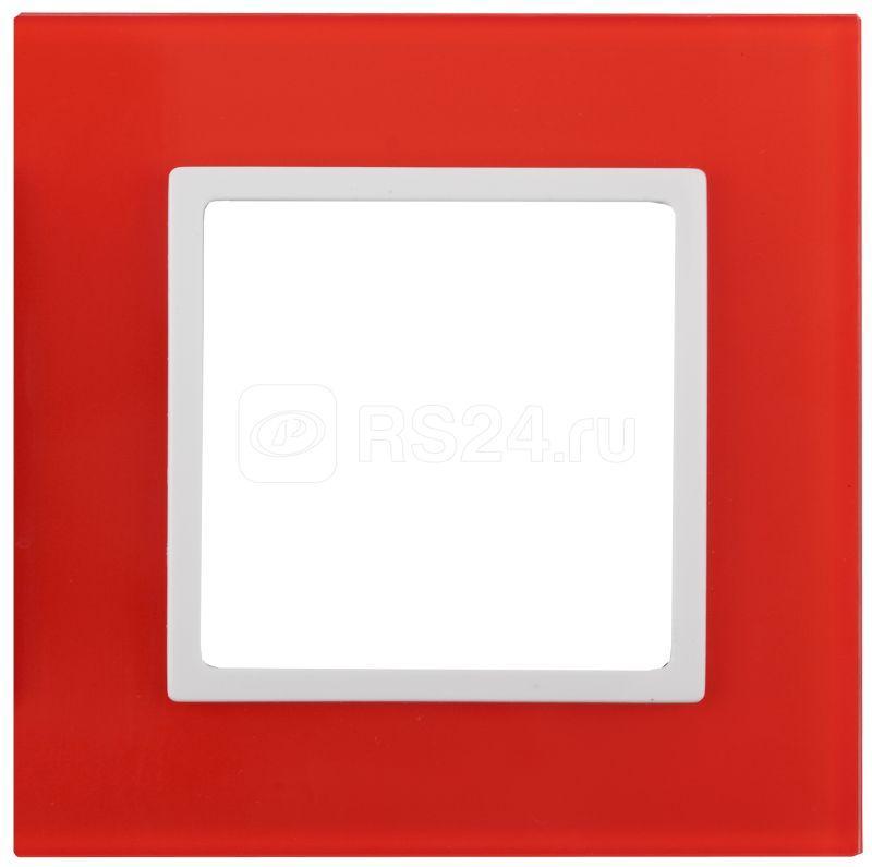Рамка 1-м 14-5101-23 стекло Elegance красный+бел. ЭРА Б0034478 купить в интернет-магазине RS24
