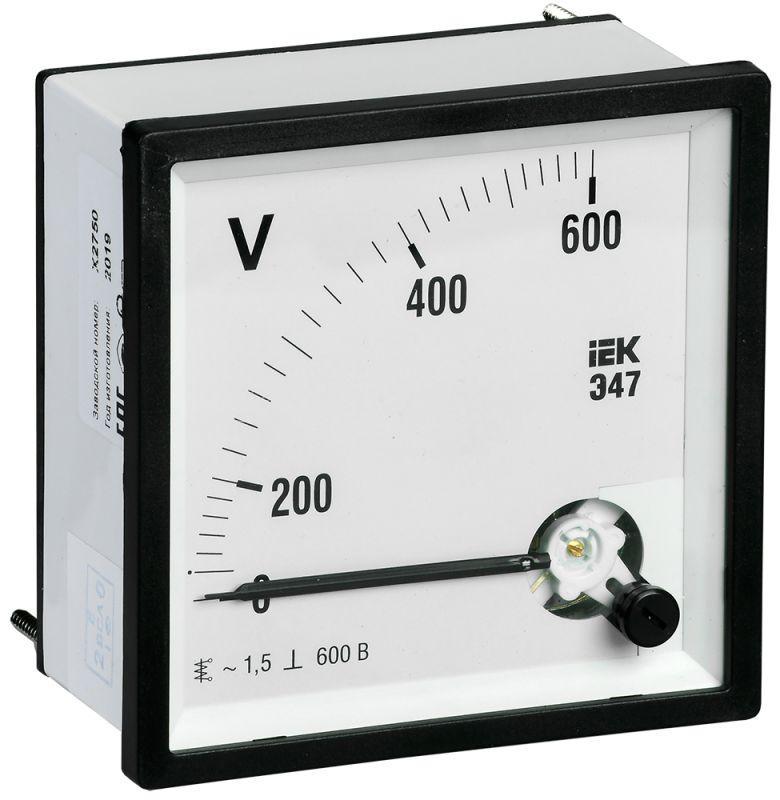 Вольтметр Э47 72х72мм 600В кл. точн. 1.5 IEK IPV10-6-0600-E купить в интернет-магазине RS24