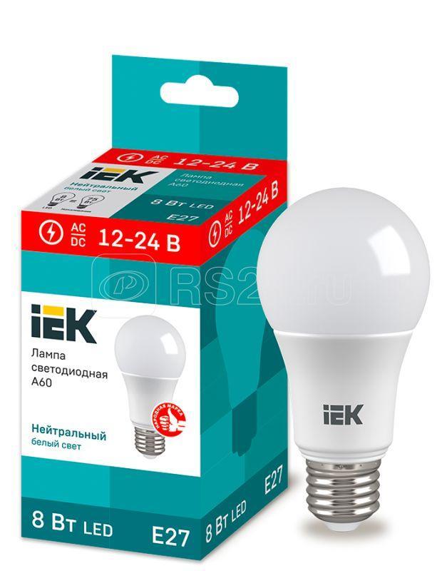 Лампа светодиодная A60 шар 8Вт 12-24В 4000К E27 (низковольтная) IEK LLE-A60-08-12-24-40-E27 купить в интернет-магазине RS24