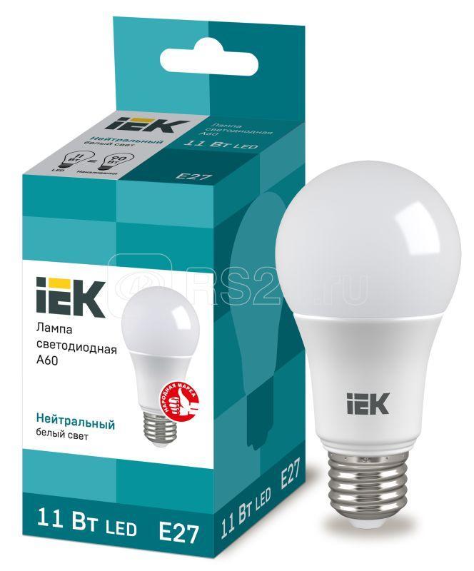 Лампа светодиодная ECO A60 11Вт грушевидная 4000К бел. E27 990лм 230-240В IEK LLE-A60-11-230-40-E27 купить в интернет-магазине RS24