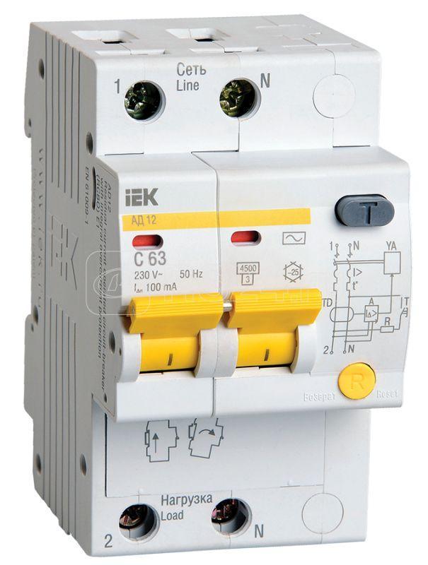 Выключатель автоматический дифференциального тока 2п C 63А 100мА тип AC 4.5кА АД-12 IEK MAD10-2-063-C-100 купить в интернет-магазине RS24