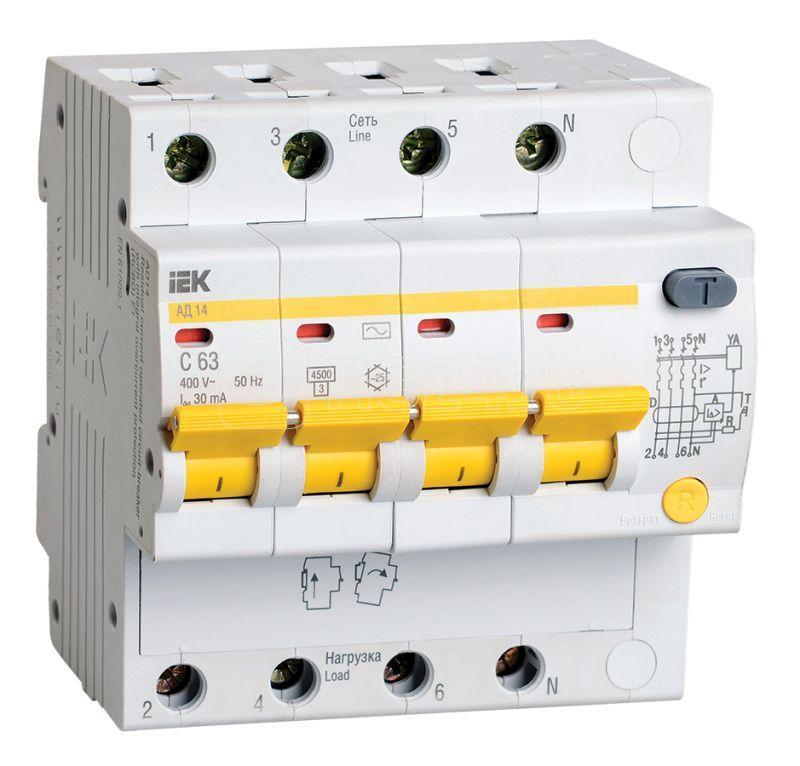 Выключатель автоматический дифференциального тока 4п C 63А 30мА тип AC 4.5кА АД-14 ИЭК MAD10-4-063-C-030 купить в интернет-магазине RS24