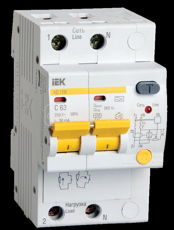 Выключатель автоматический дифференциального тока 2п C 16А 30мА тип A 4.5кА АД-12М ИЭК MAD12-2-016-C-030 купить в интернет-магазине RS24