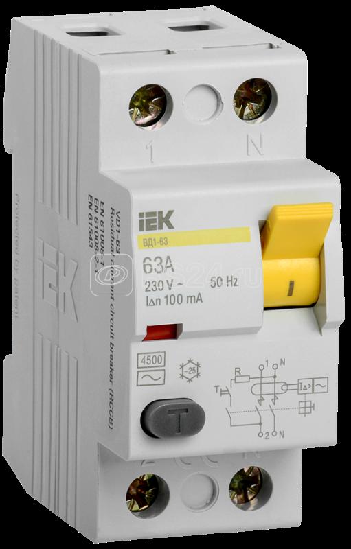 Выключатель дифференциального тока (УЗО) 2п 63А 100мА тип AC ВД1-63 ИЭК MDV10-2-063-100 купить в интернет-магазине RS24