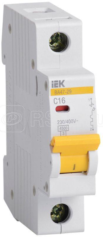 Выключатель автоматический модульный 1п C 16А 4.5кА ВА47-29 ИЭК MVA20-1-016-C купить в интернет-магазине RS24