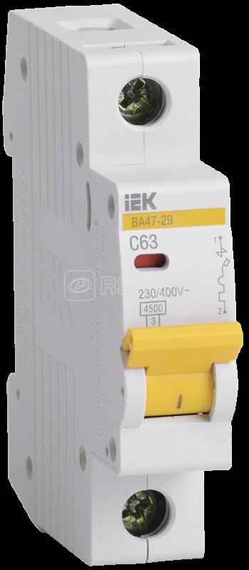 Выключатель автоматический модульный 1п C 63А 4.5кА ВА47-29 ИЭК MVA20-1-063-C