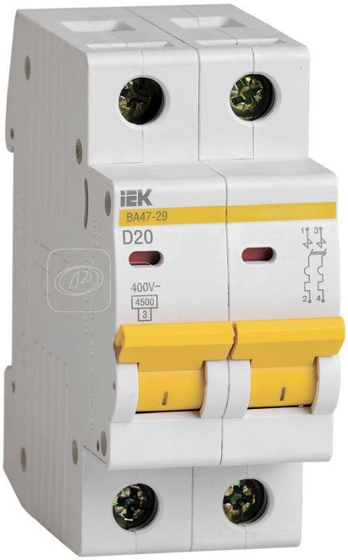 Выключатель автоматический модульный 2п D 20А 4.5кА ВА47-29 IEK MVA20-2-020-D купить в интернет-магазине RS24