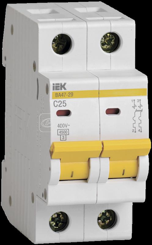 Выключатель автоматический модульный 2п C 25А 4.5кА ВА47-29 ИЭК MVA20-2-025-C