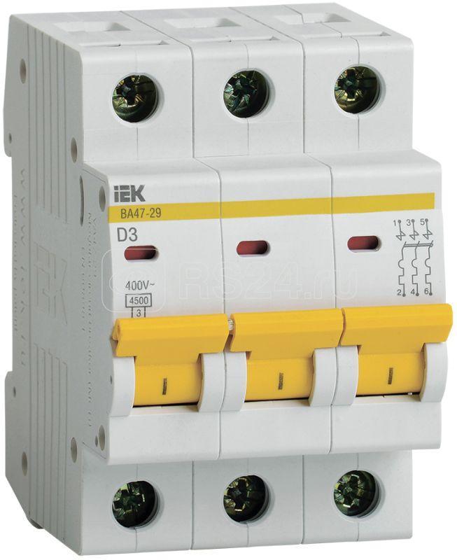 Выключатель автоматический модульный 3п D 3А 4.5кА ВА47-29 IEK MVA20-3-003-D купить в интернет-магазине RS24