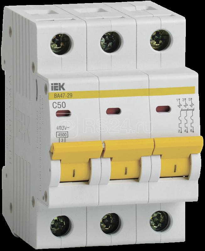 Выключатель автоматический модульный 3п C 50А 4.5кА ВА47-29 ИЭК MVA20-3-050-C