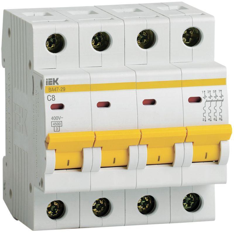 Выключатель автоматический модульный 4п C 8А 4.5кА ВА47-29 IEK MVA20-4-008-C купить в интернет-магазине RS24